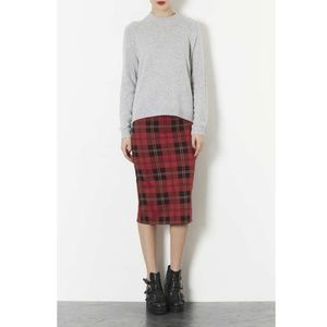TOPSHOP plaid tube stretch midi pencil skirt 6